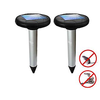 2 Pack Solar Powered Pest Repeller Deterrent For Moles, Gophers, Snakes