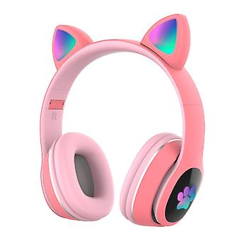 Over ear music wireless headset glowing cat headphones 7 color breathing lights