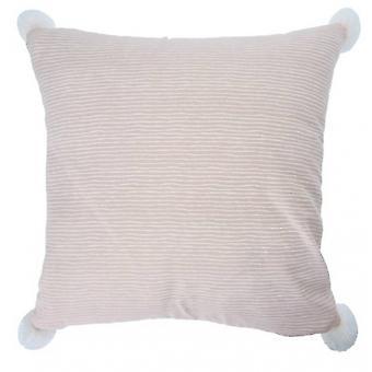 pillow striped 45 x 45 cm textile pink/white