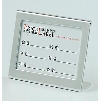 Supporto per il display dell'etichetta del cartellino del tavolo in alluminio a forma di L di piccole dimensioni