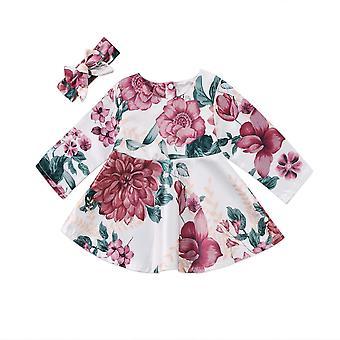 Vastasyntynyt vauvan mekko, kukka lapset pitkähihainen mekko