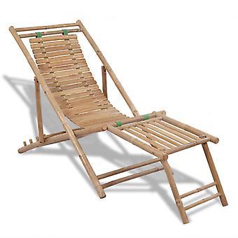 vidaXL chaise longue jardin avec étagère en bambou