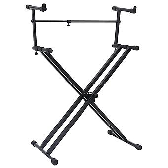vidaXL Keyboard Stand Double Strut X Frame Black