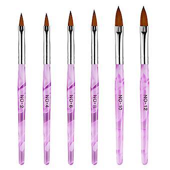עט פיסול אמנות ציפורניים 6pcs סגול לק גילוף מברשת מברשת מנקדים כלים