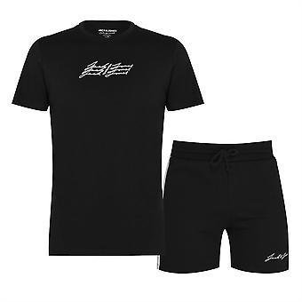 Jack och Jones Mens och T-Shirt Shorts Set Crew Neck T Shirt Tee Top