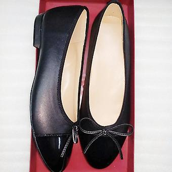 Flats Leather Splice Bow Round Ballet Shoes - Black 5
