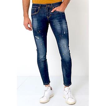 Basic Pants - Jeans With Paint Stains - D3068 - Blue