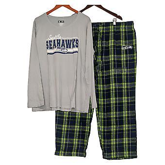 Juego de pijama para mujer de la NFL con top de manga larga y pantalones de franela azul A387687