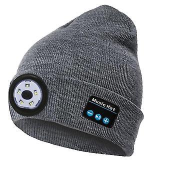 Šedá bluetooth pletená čiapka vonkajšia noc beží nočný rybolov led osvetlenie bluetooth lampa čiapka x2945