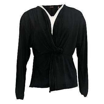 IMAN Global Chic Women's Top Long Sleeve Twist-Front Black 711746