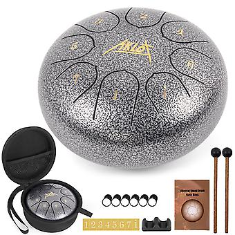 Aklot steel tongue drum 6 inch 8 notes silver color percussion instrument with drum mallets carry bag music book