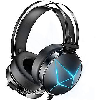 Zestaw słuchawkowy usb 7.1 RGB do gier - z oświetleniem RGB i mikrofonem z redukcją szumów (czarny)
