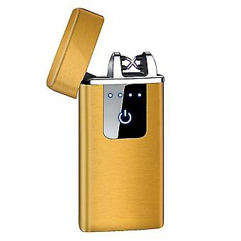 جديد hb-021 الذهب الساتان أزياء مزدوج قوس الإلكترونية أخف الذكية لمسة USB التعريفي القابلة لإعادة الشحن sm41903