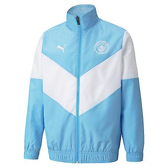 2021-2022 Man City Pre Match Jacket (Azzurro) - Bambini