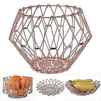 Fruit Basket Transformable Metal Wire Fruit Basket Decorative Flexible Stainess Steel Storage