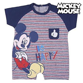 赤ちゃんの半袖ロンパーススーツミッキーマウスブルー
