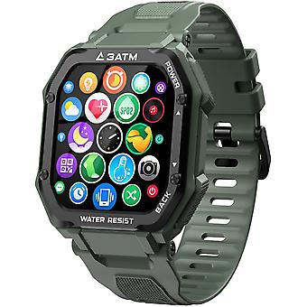 روك Smartwatch ماء 3ATM، 1.69 بوصة مشاهدة الرياضة مع قياس ضغط الدم، ورصد معدل ضربات القلب، عداد الخطى، تعقب اللياقة البدنية، 14 يوما + playtime ساعة ذكية في الهواء الطلق للرجال (الأخضر)
