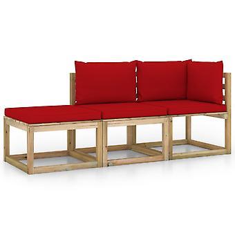 vidaXL 3-tlg. Garten-Lounge-Set mit Roten Kissen