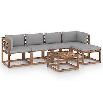 vidaXL 6 pcs. Garden Lounge Set with Grey Cushions