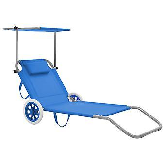 vidaXL sammenleggbar sofa med solbeskyttelse og hjul Steel Blue
