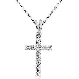 LXR 14K valkoinen kulta timantti risti riipus