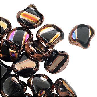 Czech Glass, 2-Hole Ginko Beads 7.5mm, 10 Grams, Jet Full Sliperit Line