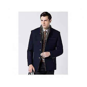 Men's Classical Bussiness Style Single Breasted Plaid Wool Jacket