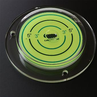 NA 100mm Acrylic Large Flanged Circular Angle Spirit Bubble Degree Level (Green Liquid) 100mm Diameter with Degree Marking - Surface Level, Bulls Eye Bullseye Round