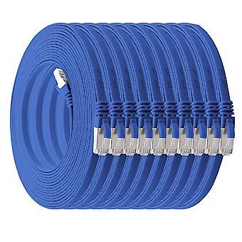 2m - blau - 10 Stück Cat7 Flachkabel Netzwerkkabel Cat 7 Rohkabel Gigabit Lan (10Gbit/s)
