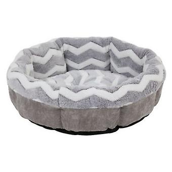 """Precision Pet Snoozz ZigZag Round Pet Bed Gray And White  - 21"""" wide"""