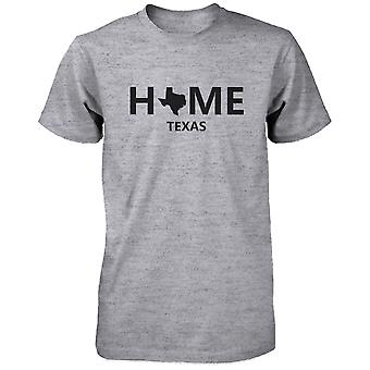 Home TX State Grey Men's T-Shirt US Texas Hometown Cotton Shirt
