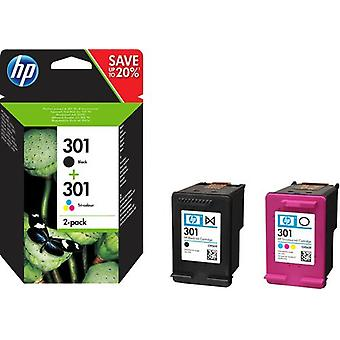 HP 301 svart bläckpatron/trefärgsbläckpatron, original, 2-pack, Standardavkas