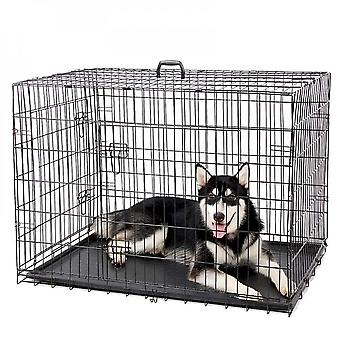Black Dog Crates Folding Metal Dog Crate Playpen With Plastic Tray