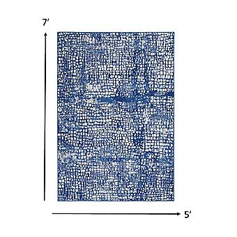 5' x 7' Ivory and Navy Abstract Grids Area Rug