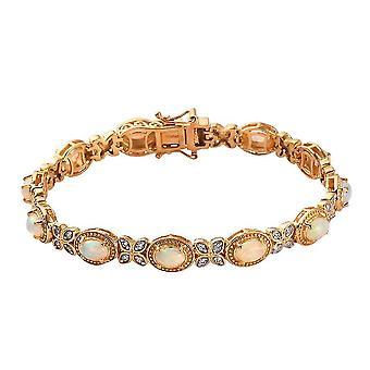 Opaal, Zircon Tennis armband verguld zilver voor vrouw / vriendin / moeder (8 inch)