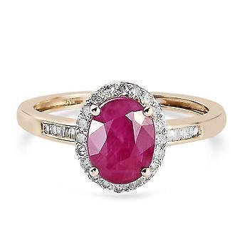 TJC Ruby Halo Ring 9K Yellow Gold Anniversary Gift White Diamond 1.81ct(N)
