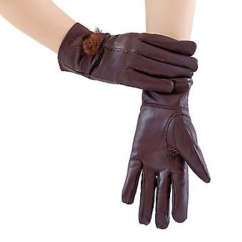 Mimigo Wine Red Genuine Sheepskin Leather Gloves For Women, Winter Warm Cashmere Lined Driving Motorcycle Gloves With Real Mink Pompom