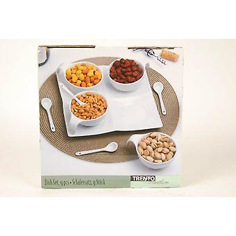 9pc Porzellanbesteck Weißer platten Schüsseln Löffel für Snack Trockenfrüchte Suppe
