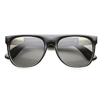 Retro Metal Accent Faux Leather Temple Flat Top Sunglasses
