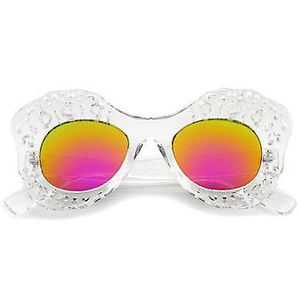 Wyłącznik przezroczysty rama Oversize motyl przeciwsłoneczne okulary kolorowe lustro 49mm