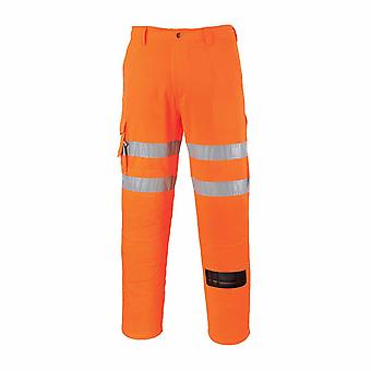 Portwest - Rail Track Side Hi-Vis Safety Workwear Combat Trousers