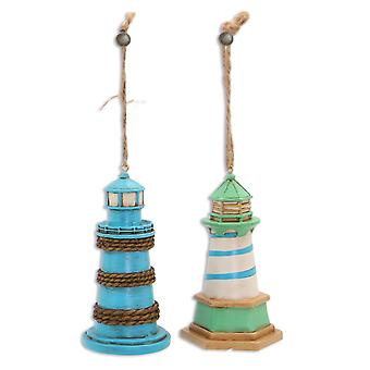 Blue and Green Lighthouse Christmas Holiday Ornaments Set of 2