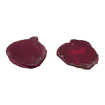 Pair of Pink Polished Brazilian Agate Slice Natural Edge Stone Coasters