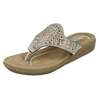 Ladies Anne Michelle Embellished Toe Post Sandal
