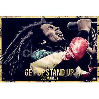 Bob Marley - Get Up Stand Up Zitat Poster Plakat-Druck