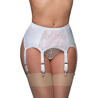 Couleur unie blanche dentelle Garter Belt 6 sangle porte-jarretelles nylon Dreams NDL8 féminin