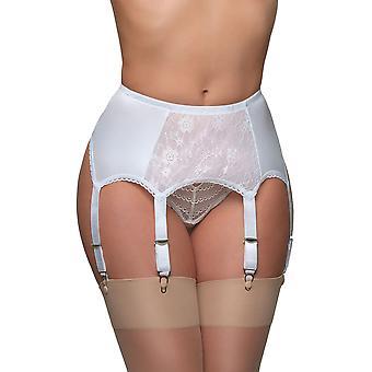 Nylon Dreams NDL8 Women's White Solid Colour Lace Garter Belt 6 Strap Suspender Belt