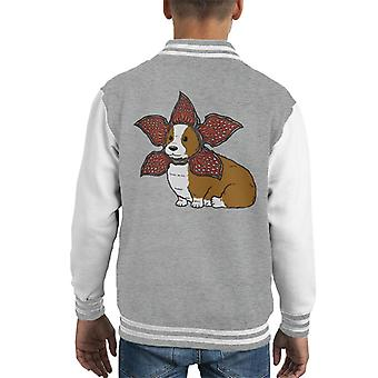 Not Safe For Cats Demogorgon Corgi Kid's Varsity Jacket