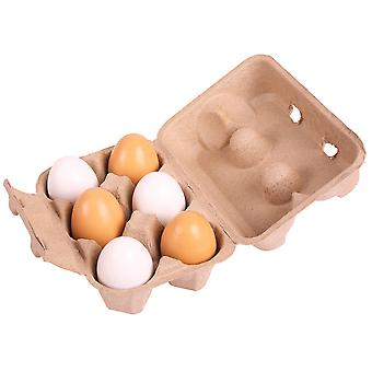 Bigjigs Toys Six Wooden Eggs in Carton Realistic Pretend Role Play Food