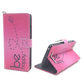 Handyhülle Tasche für Handy Wiko Lenny 3 Be Happy Pink